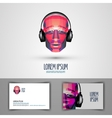 music logo design template headphones or vector image