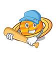 playing baseball planet saturnus character cartoon vector image vector image