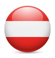 Round glossy icon of austria vector image