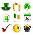 saint patrick day icons detailed set vector image vector image