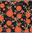 seamless floral pattern with dahlia flower leaves vector image