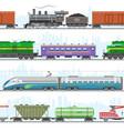 set modern and retro railway transport vector image vector image