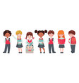 set pupils with school supplies vector image vector image