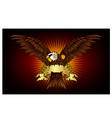Spread winged eagle insignia with gold color vector image