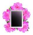 Tablet and pink peonies vector image