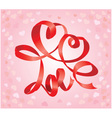 Valentines Day card with hearts and word LOVE vector image vector image