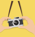 vintage camera with hand holding it vector image vector image