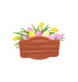 wooden signboard decorated with cute painted vector image