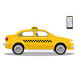 yellow taxi car and smarthone app for taxi vector image vector image