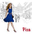 woman in pisa vector image