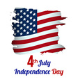 4th of July American Independence Day grungy wave vector image