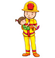 A fireman rescuing a girl vector image vector image