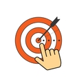 Abstract target icon and arrow in aim center hand vector image
