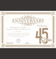 anniversary retro vintage background 45 years vector image vector image