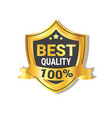 best quality sticker golden shield with ribbon vector image