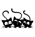 black cats looking out window cartoon cats vector image vector image