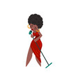 black woman in red dress singing with microphone vector image vector image