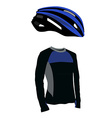 Blue bicycle helmet and shirt vector image vector image