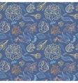 Blue Outline Floral Pattern vector image vector image