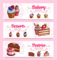 cake and cupcake desserts banner for food design vector image