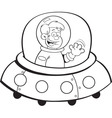 Cartoon boy in a space ship vector image vector image