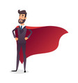 cartoon superhero standing with cape waving in the vector image vector image