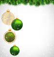 Christmas ball on pine on grayscale vector image vector image
