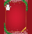 christmas red background frame with snow doll vector image vector image
