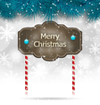 Christmas winter background with wooden blackboard vector image