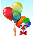clown face with balloons bright icon vector image