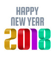 colorful 2018 happy new year red ribbon on white vector image vector image