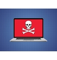 computer hacked with skull symbol and danger alert vector image vector image