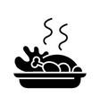 Cooked turkey black icon concept