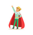cute happy boy prince in a golden crown and red vector image vector image
