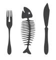 Cutlery knife fork fish vector image vector image