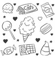 doodle candy various hand draw vector image vector image