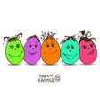 Easter card with funny eggs vector image vector image