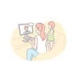 family video conference communication concept vector image
