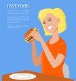 fast food poster and woman vector image