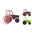 fragmented dot halftone wheeled tractor icon vector image