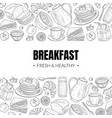 fresh and healthy breakfast and brunches top view vector image vector image