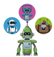green robot machine engineering with icons robots vector image vector image
