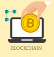 hand with bitcoin laptop and blockchain vector image