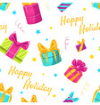happy holidays seamless pattern with colorful gift vector image