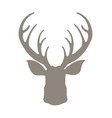 head deer silhouetted reindeer with horns vector image