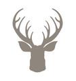 head deer silhouetted reindeer with horns vector image