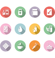 icon set gastronomy color with long shadow vector image
