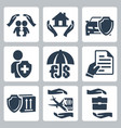 insurance icons set family home vector image