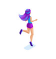 isometrics girl jumping having fun enjoying hers vector image vector image