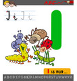 letter i with cartoon insect characters vector image